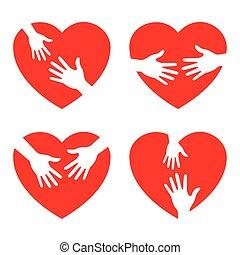 Un ícono del corazón con manos cariñosas