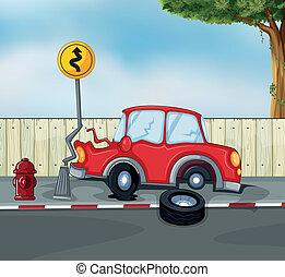 Un accidente de coche en la carretera cerca de la boca