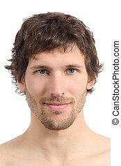 Un acercamiento facial de una cara de hombre atractivo