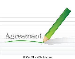 Un acuerdo escrito en un papel.