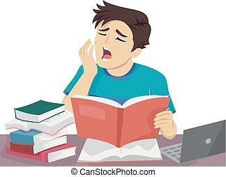 Un adolescente que estudia bostezar