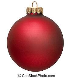 Un adorno de Navidad rojo.