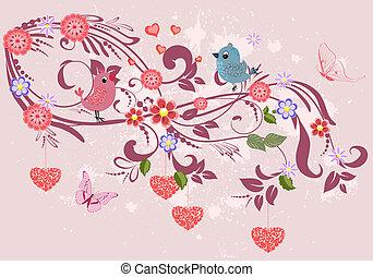 Un adorno floral con corazones para tu diseño
