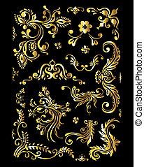 Un adorno floral con elementos de decoración de oro