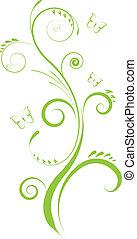 Un adorno floral verde