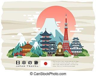 Un afiche de viaje japonés atractivo