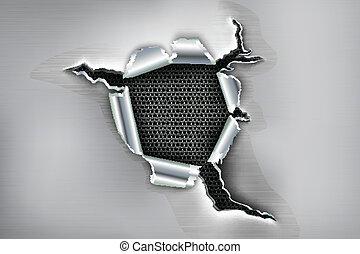 Un agujero irregular en el metal