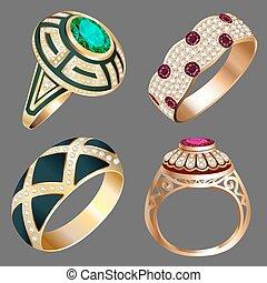 Un anillo antiguo con piedras preciosas