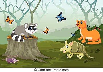 Un animal gracioso en el bosque profundo