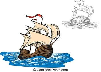 Un antiguo barco de vela en las olas del océano