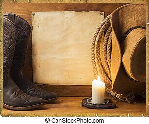 Un antiguo fondo americano con ropa de vaquero