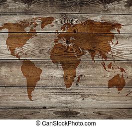 Un antiguo mapa de antecedentes de madera