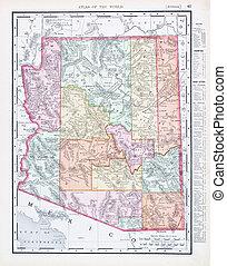 Un antiguo mapa de color antiguo de Arizona, EE.UU