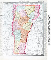 Un antiguo mapa de color antiguo de Vermont, EE.UU