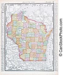 Un antiguo mapa de color antiguo de Wisconsin, EE.UU