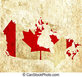 Un antiguo mapa de papel de Canadá