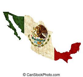 Un antiguo mapa de papel de México