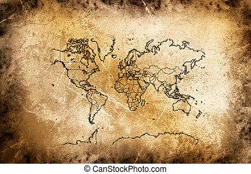 Un antiguo mapa del mundo.