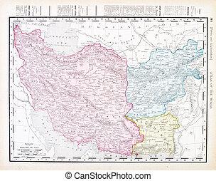 Un antiguo mapa inglés de color antiguo iran Afganistán