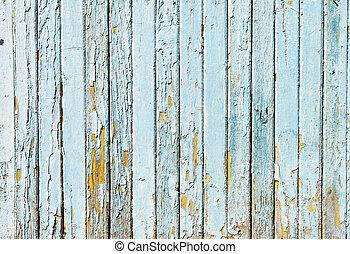 Un antiguo muro de madera de fondo azul, concepto
