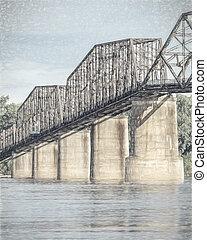 Un antiguo puente río Mississippi