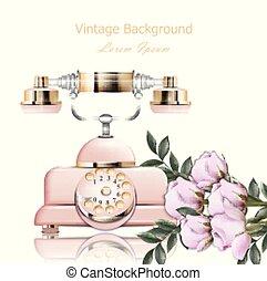 Un antiguo vector de teléfono rosa. Retro ilustración en estilos realistas