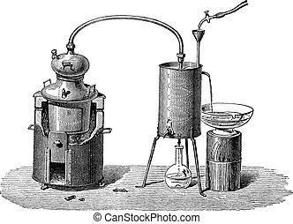 Un aparato de destilación, grabado antiguo