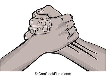 Un apretón de manos con dos manos negras