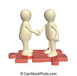 Un apretón de manos de dos hombres 3D en partes adjuntas de rompecabezas
