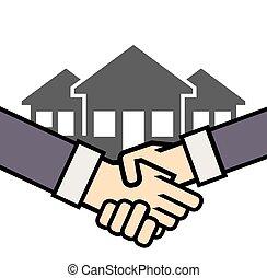 Un apretón de manos de icono vector inmobiliario