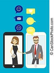Un apretón de manos entre gente de negocios. Tecnología móvil y charla