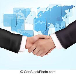 Un apretón de manos entre los empresarios con el mapa del mundo