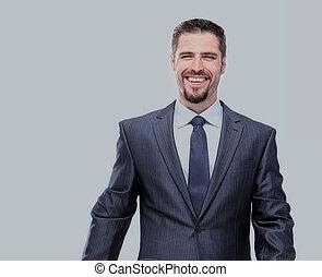 Un apuesto hombre de negocios de fondo blanco