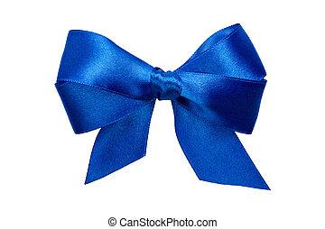 Un arco azul con colas de cinta
