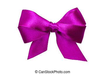 Un arco púrpura con colas de cinta