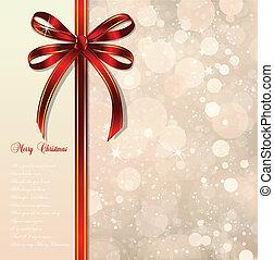 Un arco rojo en un fondo mágico de Navidad. Vector