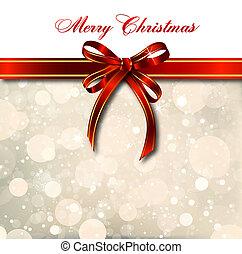 Un arco rojo en una tarjeta mágica de Navidad. Vector