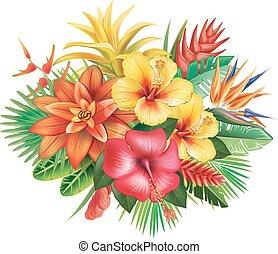 Un arreglo de flores tropicales
