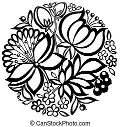 Un arreglo floral blanco y negro en forma de círculo