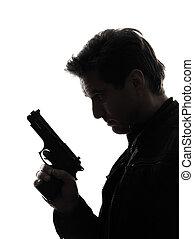 Un asesino de policías con un retrato de pistola