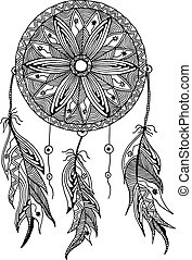 Un atrapasueños monocromo con plumas