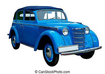 Un auto azul clásico aislado
