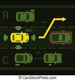 Un auto inteligente en la carretera con tráfico. Vector