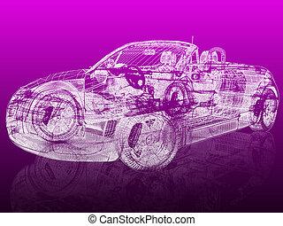 Un auto modelo 3D