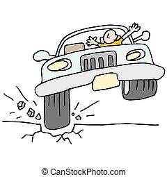 Un auto que golpea un hoyo.