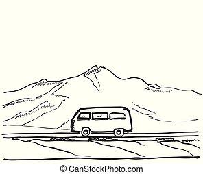 Un autobús de viaje dibujado a mano. Camino cerca de las montañas