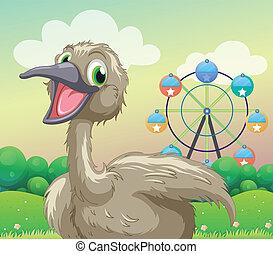 Un avestruz frente a la noria
