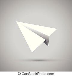 Un avión de papel blanco