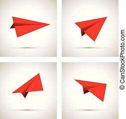 Un avión de papel rojo