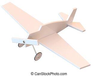 Un avión de plástico de juguete aislado en blanco